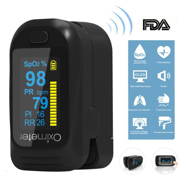 Loyyer CE Digital Finger Oximeters Blood Oxygen Saturation Pulse Oximeters OLED Finger Saturometer Medical SpO2 PR Digital Fingertip Rate Monitor for Home Family Black【High Quality】