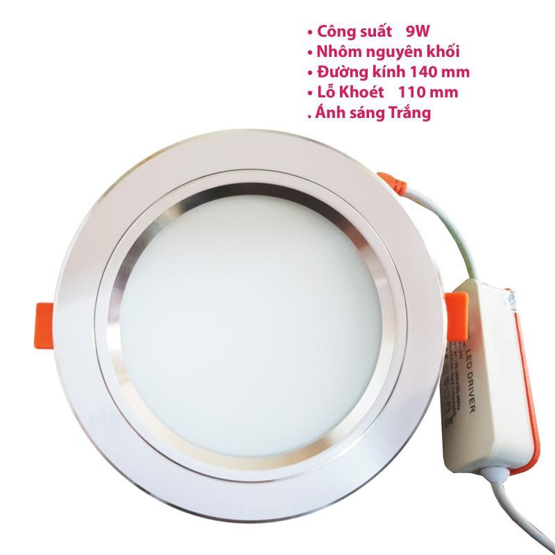 Đèn led âm trần 9w viền bạc ánh sáng trắng