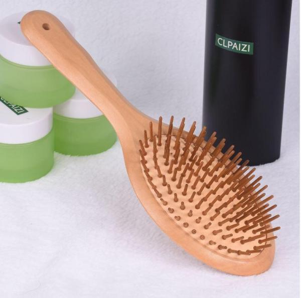Lược gỗ tự nhiên cỡ trung kiểu tròn - Thư giãn da đầu - Kích thích mọc tóc GD147
