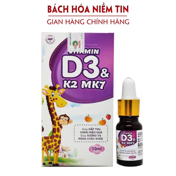 Vitamin D3 K2 Mk7 Lọ 10ml dạng nhỏ giọt tiện dụng giúp bé hấp thụ canxi tăng trưởng chiều cao, nhanh mọc răng- Hàng chuẩn GMP nhập khẩu