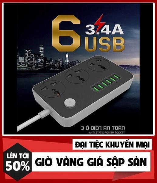 Ổ cắm điện đa năng thông minh 6 USB sạc nhanh 3.4A dây dài 2 mét rẻ hơn ổ lioa,quang,xiaomi...