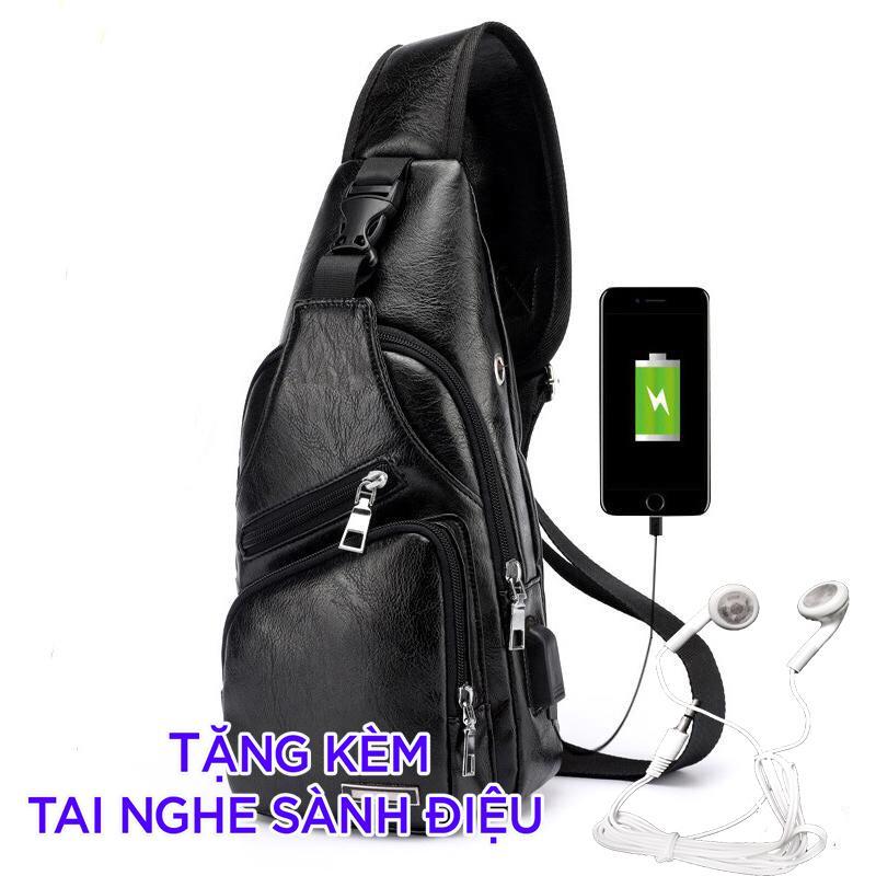 Túi đeo chéo nam da cao cấp có cổng sạc USB và lỗ tai nghe (tặng dây usb và tai nghe) Nhật Bản