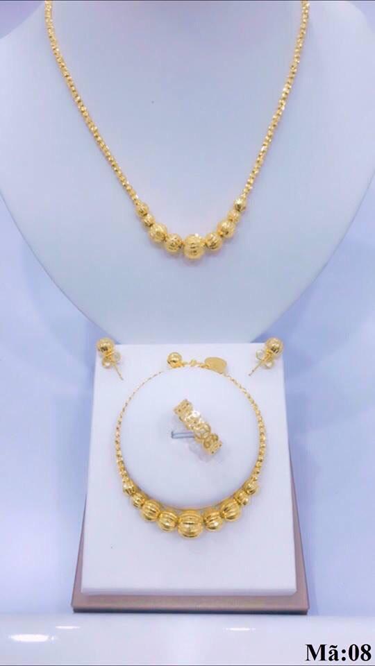 [ RẺ VÔ ĐỊCH ] Bộ trang sức vàng 18k, bộ trang sức nữ bi châu tròn chạm hoa văn tinh tế sắc sảo thiết kế sang trọng thời trang Trang sức Gadoshop VB216091903 - dùng đi tiệc cực kì sang chảnh