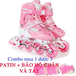 Giày patin trẻ em tặng kèm bảo hộ chân tay Sport TWE , có bánh phát sáng đi vừa với bé trai và gái từ 3-14 tuổi, có 3 màu Đỏ, Hồng, Xanh - Giày patin cho trẻ mới học đi. thumbnail