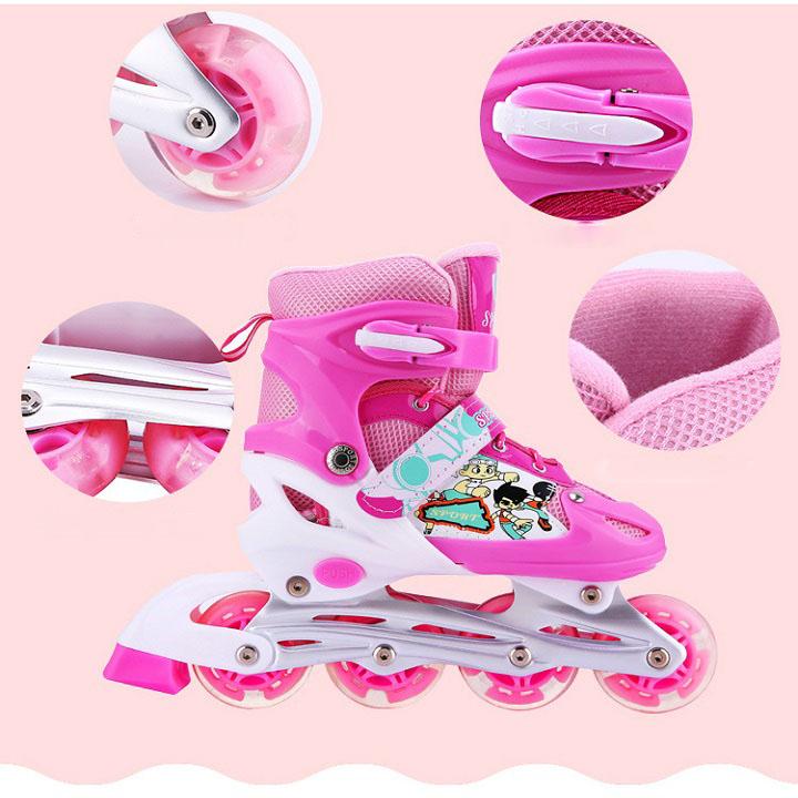 Mua { Hot Deal} Giày patin, giày patin trẻ em, giày patin 4 bánh màu Hồng, bánh xe phát sáng + Tặng bộ bảo hộ an toàn