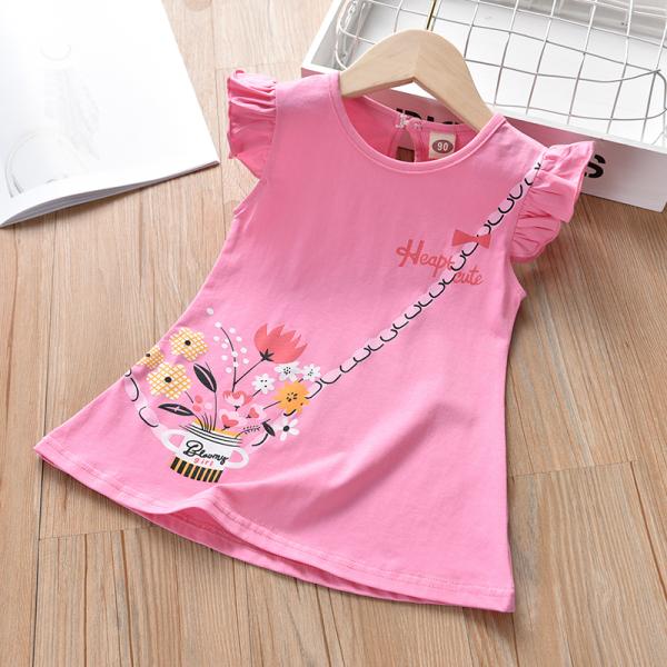 Váy Chữ A Bé Gái Phối Tay Bèo In Họa Tiết Lọ Hoa Thời Trang Julykids VAY G1001