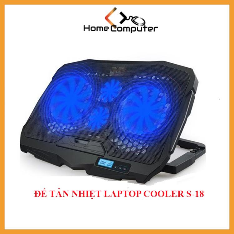 Đế tản nhiệt laptop, Đế tản nhiệt S18 COOLER 4 quạt mạnh mẽ, ổn định, chống ồn, dòng cao cấp cho game thủ