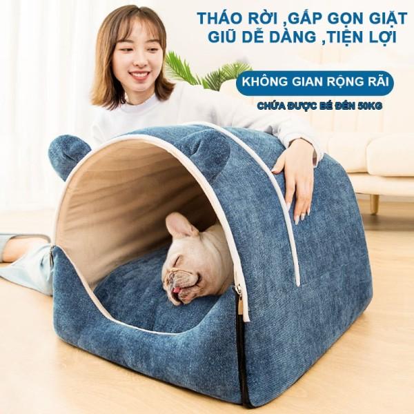 Chuồng nệm cho chó mèo Hipipet gấp gọn tháo rời giặt giũ dễ dàng vải chenille xịn 3 màu sắc ,3 kích cỡ-PKCM01