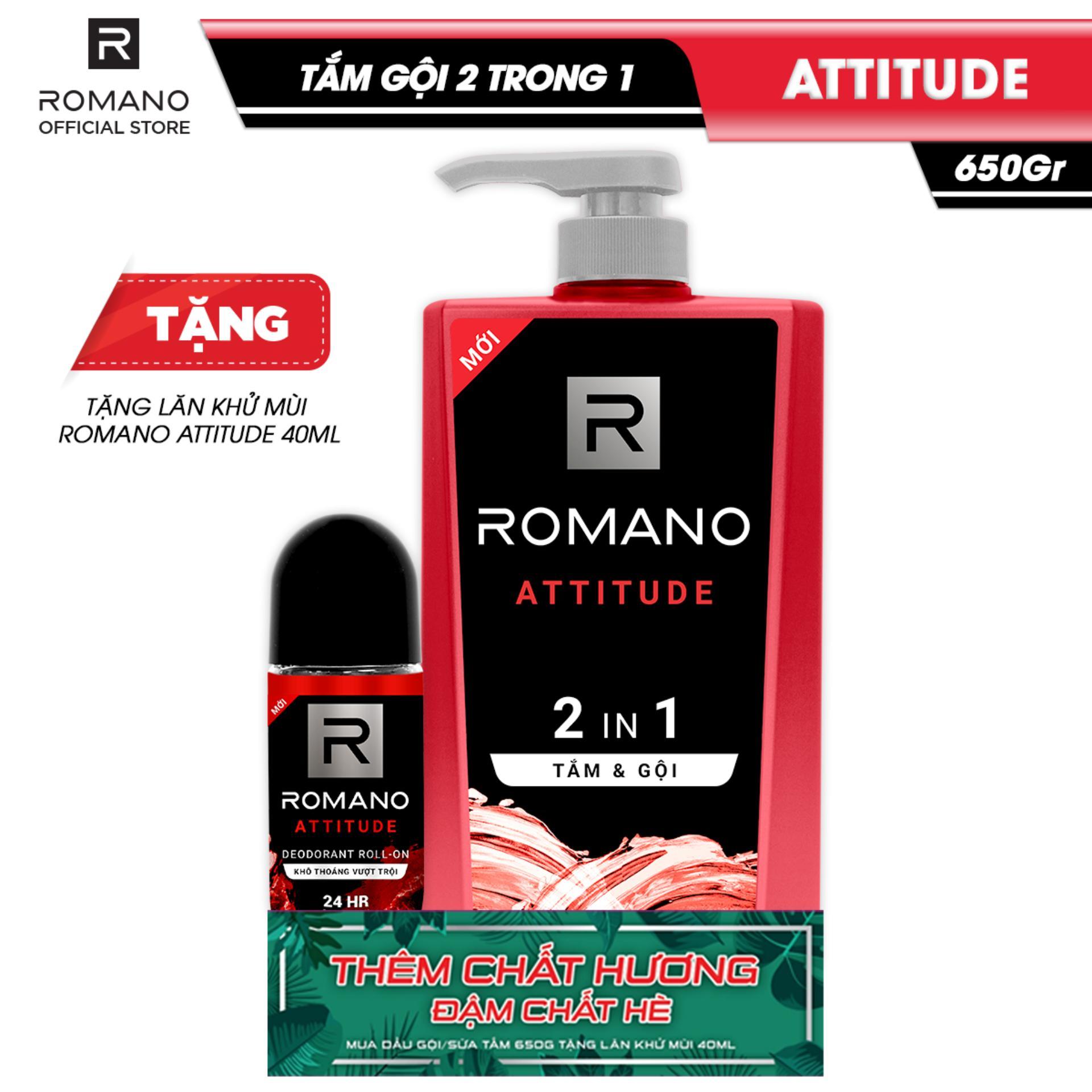 [Tặng Lăn khử mùi Romano Attitude 40ml] Tắm gội 2 trong 1 Romano Attitude 650g