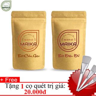 Combo Bột Cám Gạo + Bột Đậu Đỏ - Nguyên Chất MK Farm - (50g/túi) + Tặng Cọ Quét