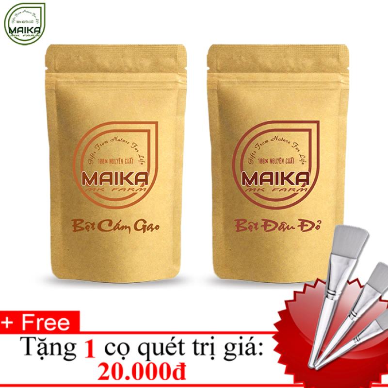 Combo Bột Cám Gạo + Bột Đậu Đỏ - Nguyên Chất MK Farm - (50g/túi) + Tặng Cọ Quét giá rẻ