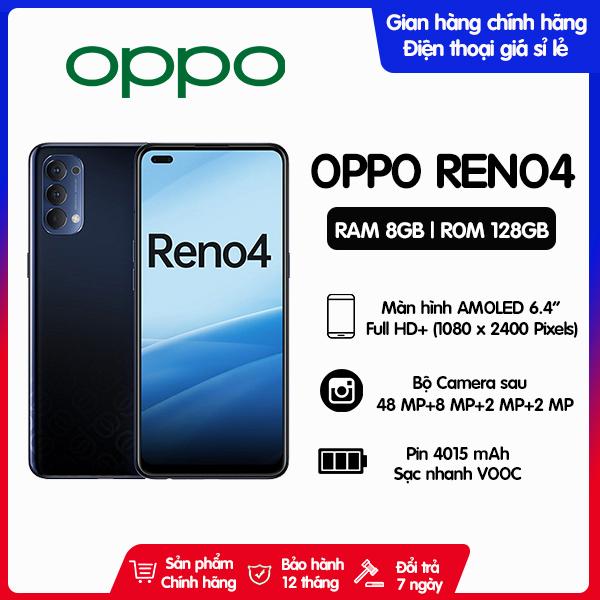 Điện thoại Oppo Reno4 Bộ nhớ trong 128GB | Hàng chính hãng, Nguyên Seal, mới 100% | Bảo hành 12 tháng trên toàn quốc | Màn hình AMOLED 6.4 inch | Sạc nhanh VOOC 4.0 30W
