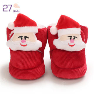 Bốt Cao Đến Mắt Cá Bằng Nhung Lông Ấm Áp Mùa Đông Cho Trẻ Em 27 Giày Bé Trai Bé Gái, Bốt Tuyết Giáng Sinh