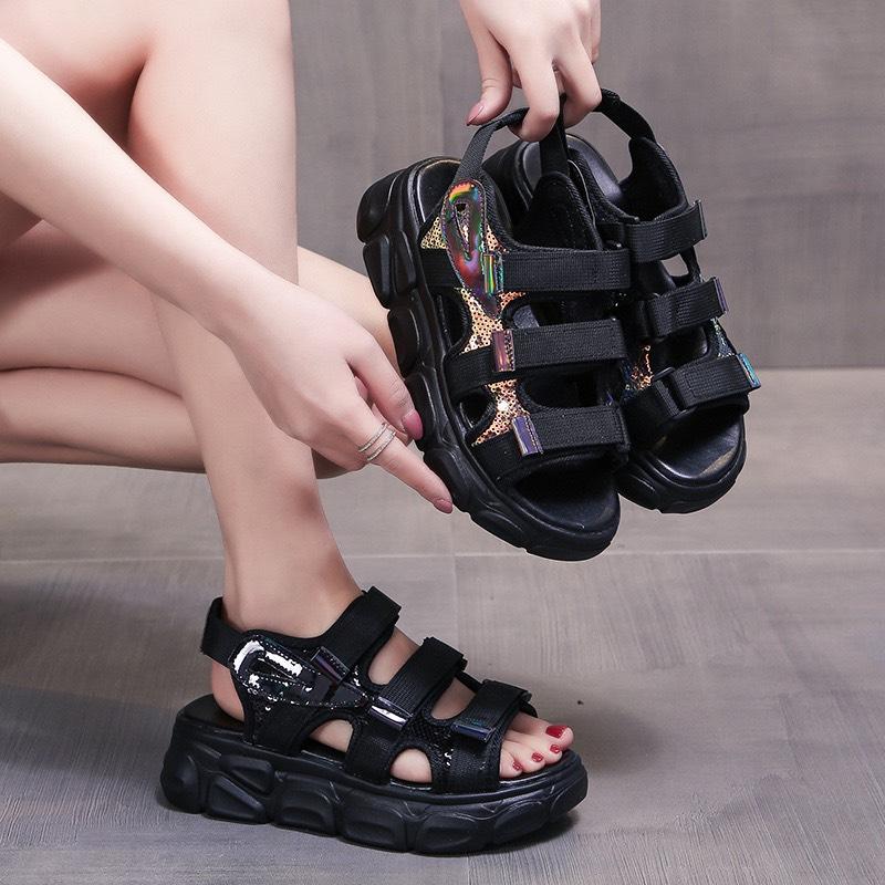 Sandal Nữ 3 Quai Kim Sa , Đế 3Cm Kiểu Dáng Hàn Quốc- HOT Trend Bán Chạy 2020- Hàng Nhập Giá Tốt Không Nên Bỏ Lỡ