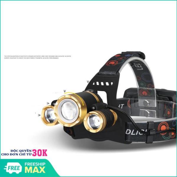 Đèn bin đội đầu, đèn đeo trán siêu sáng - Đèn pin đội đầu 3 bóng LED Siêu sáng cao cấp Cree T6 - Đèn pin đội đầu,đeo trán 2 pin sạc 3 bóng led siêu sáng chống nước