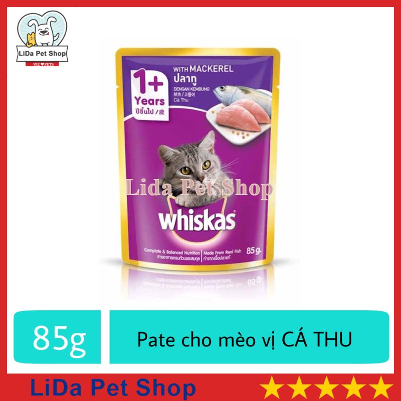[Lấy mã giảm thêm 30%]HN- Thức ăn ướt pate / xốt Whiskas hương vị Cá Thu dành cho mèo lớn - Gói 85g - Lida Pet Shop