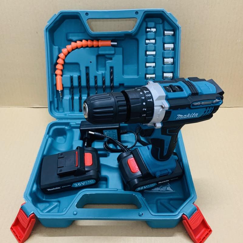 Máy khoan pin 36V Makita 3 chức năng có búa - Tặng kèm 24 chi tiết gồm các mũi khoan + Mũi bắt vít - Kèm theo 2 pin