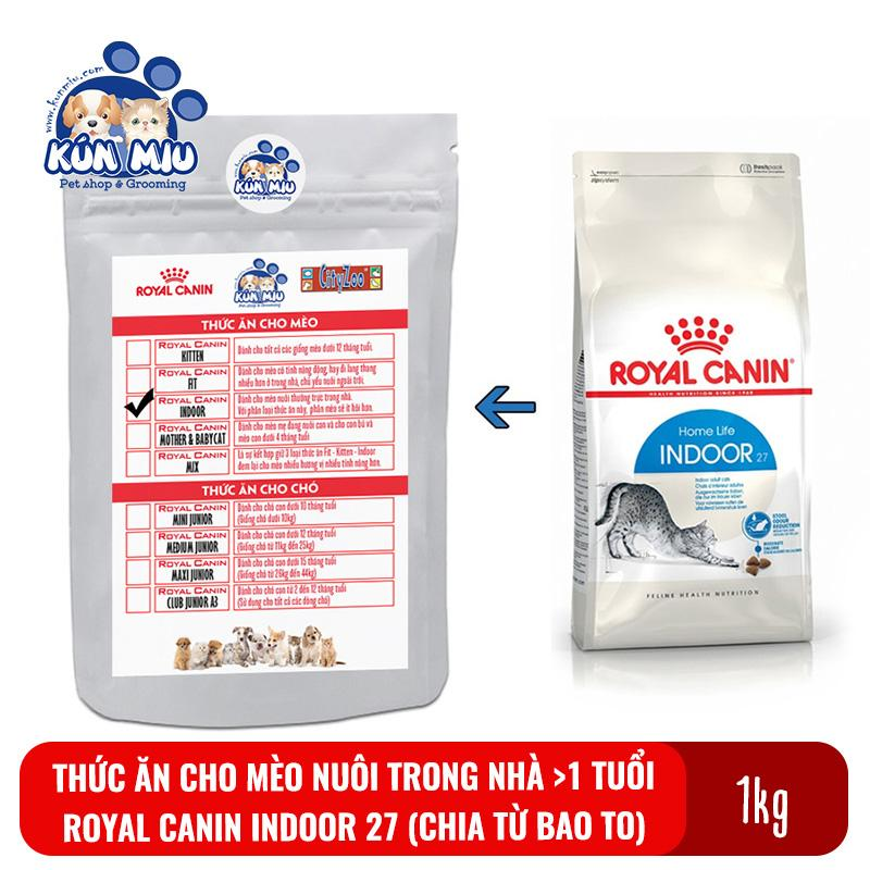 Thức ăn Cho Mèo Nuôi Trong Nhà, ít Vận động Royal Canin Indoor 27 Túi Zip 1kg (chia Từ Bao 10kg) Giá Ưu Đãi Không Thể Bỏ Lỡ
