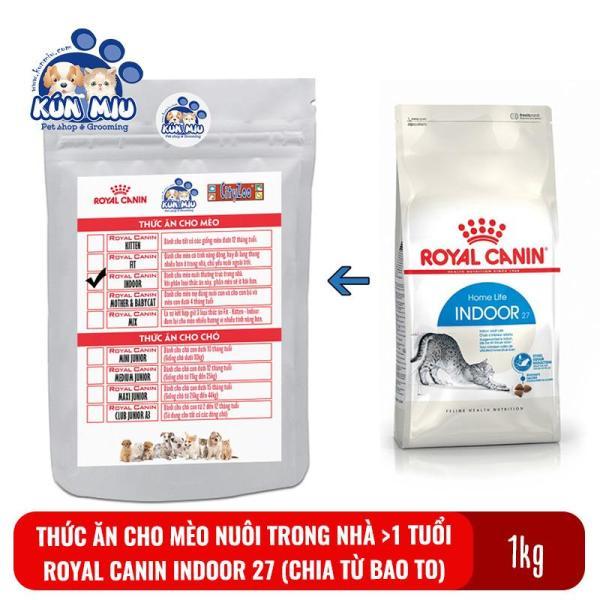 Thức ăn cho mèo nuôi trong nhà, ít vận động Royal canin Indoor 27 túi zip 1kg (chia từ bao 10kg)