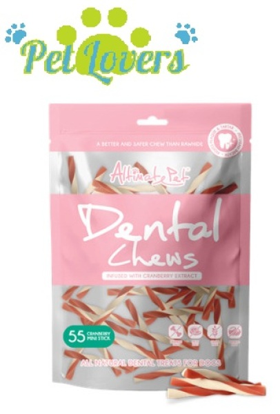 Dental Chews - Gặm sạch răng thơm miệng - Thanh que 3 vị gồm Cranberry , bạc hà , sữa 150g