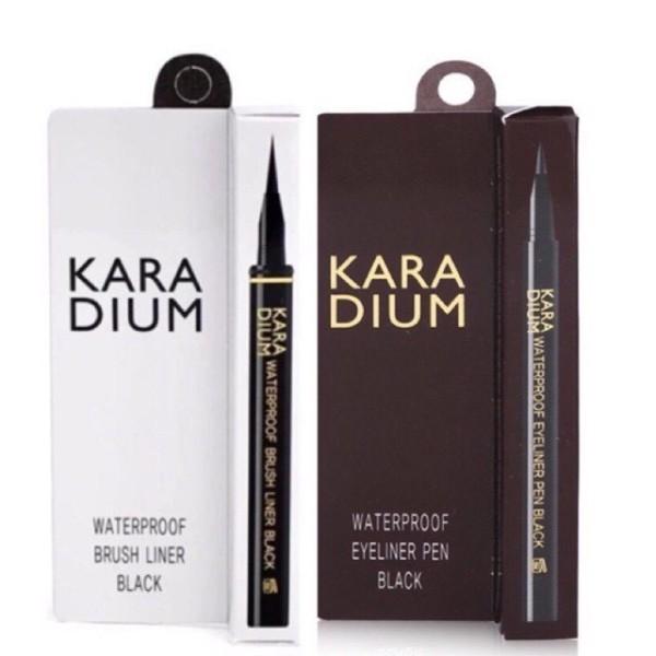 Bút dạ kẻ mắt nước Karadium Hàn Quốc vỏ nâu và vỏ trắng.