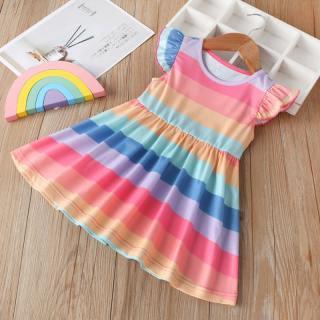 Đầm Bé Gái Không Tay Cầu Vồng Đầm Tập Đi Trẻ Em Công Chúa Dễ Thương Mùa Hè Phối Sọc