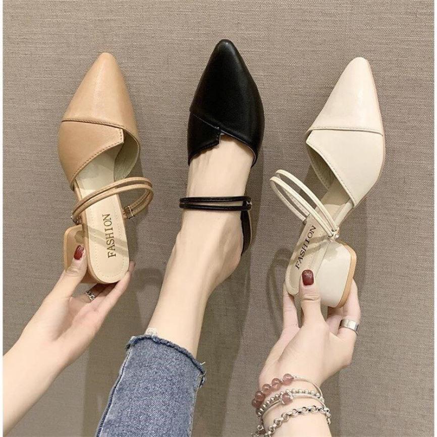 FREE SHIP Giày sandal cao gót 3 phân mũi nhọn đi 3 kiểu siêu hot giá rẻ