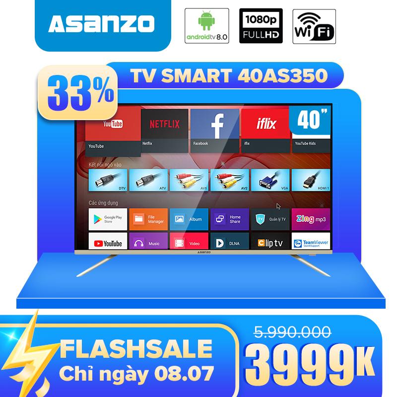 Giá Tiết Kiệm Để Sở Hữu Ngay Smart Tivi 40 Inch Full HD Asanzo 40AS350 Miễn Phí 12 Tháng ClipTV (Android Tivi 8.0, Tích Hợp Tính Năng Tìm Kiếm Bằng Giọng Nói, Picture Wizard Thế Hệ II) (new 2020) Bảo Hành 2 Năm