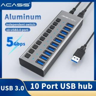 Acasis Bộ Hub USB 3.0 tốc độ cao 5Gbps 10 cổng + bộ đổi nguồn cho máy tính xách tay PC - INTL thumbnail