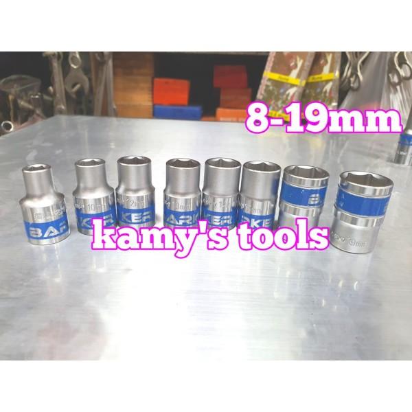 Bộ đầu tuýp đầu khẩu Barker cần 1/2 từ 8,10,12,13,14,15,17,19mm (1 bộ/8 cục)