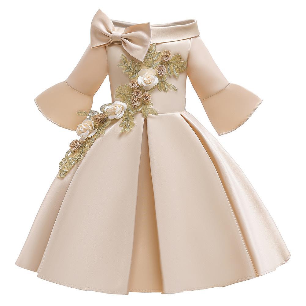 Giá bán Xiziy Bé Gái Thêu Đầm Công Chúa Trẻ Em Ôm Vai Vừa Tay Cô Gái Váy Hoa Văn Thời Trang Hàn Quốc Trang Phục