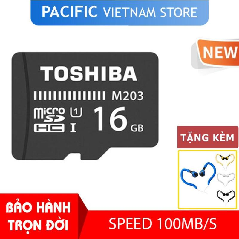 Thẻ nhớ Toshiba 16GB MicroSDHC UHS-I U1 100MB/s - Tặng Tai Nghe Móc Tai Kingrays EA4015