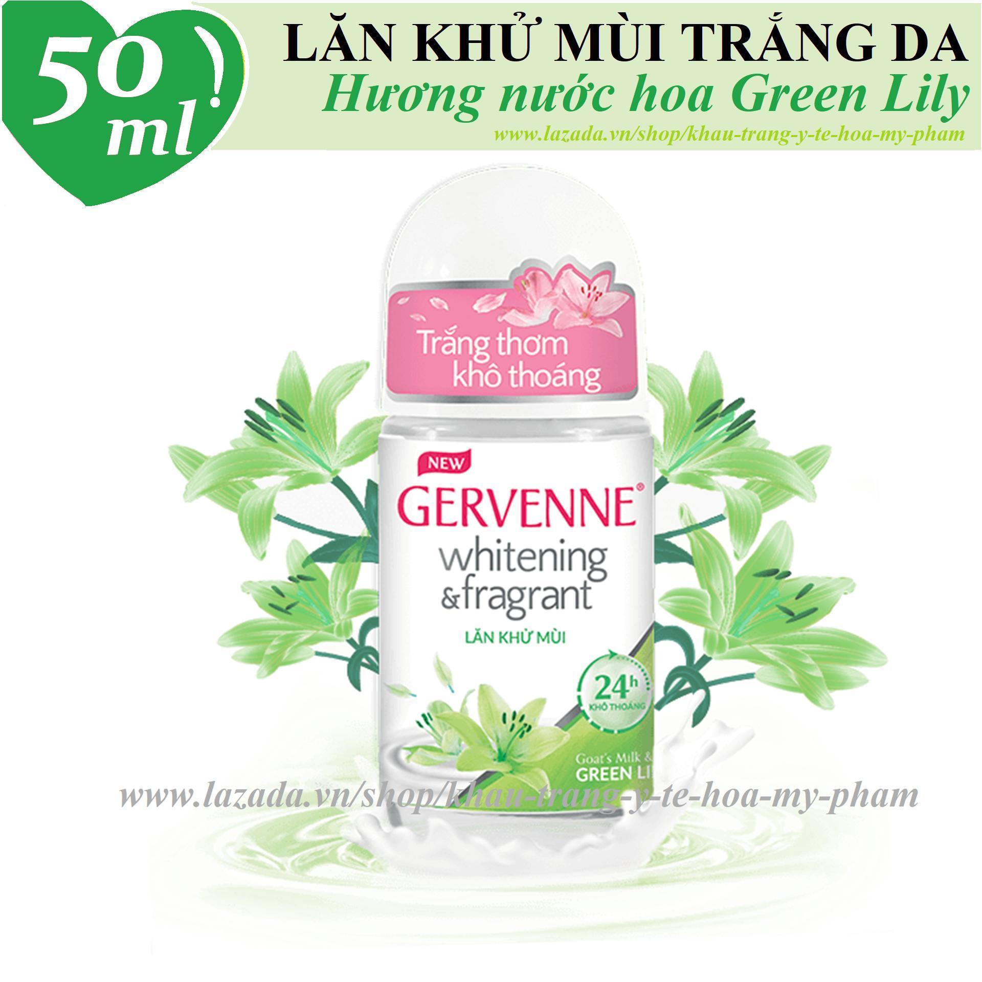 Gervenne - Lăn khử mùi trắng da hương nước hoa Lily xanh 50 ml nhập khẩu