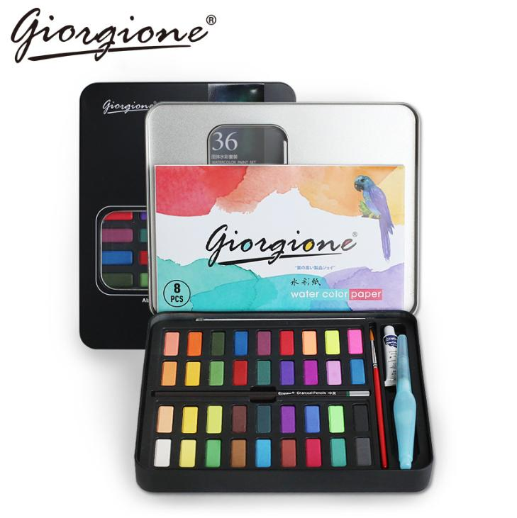 Mua Bộ 36 màu nước Giorgione cao cấp (tặng kèm cọ nước, cọ tỉa, bút chì, giấy vẽ màu nước và túi nhung) 5.0