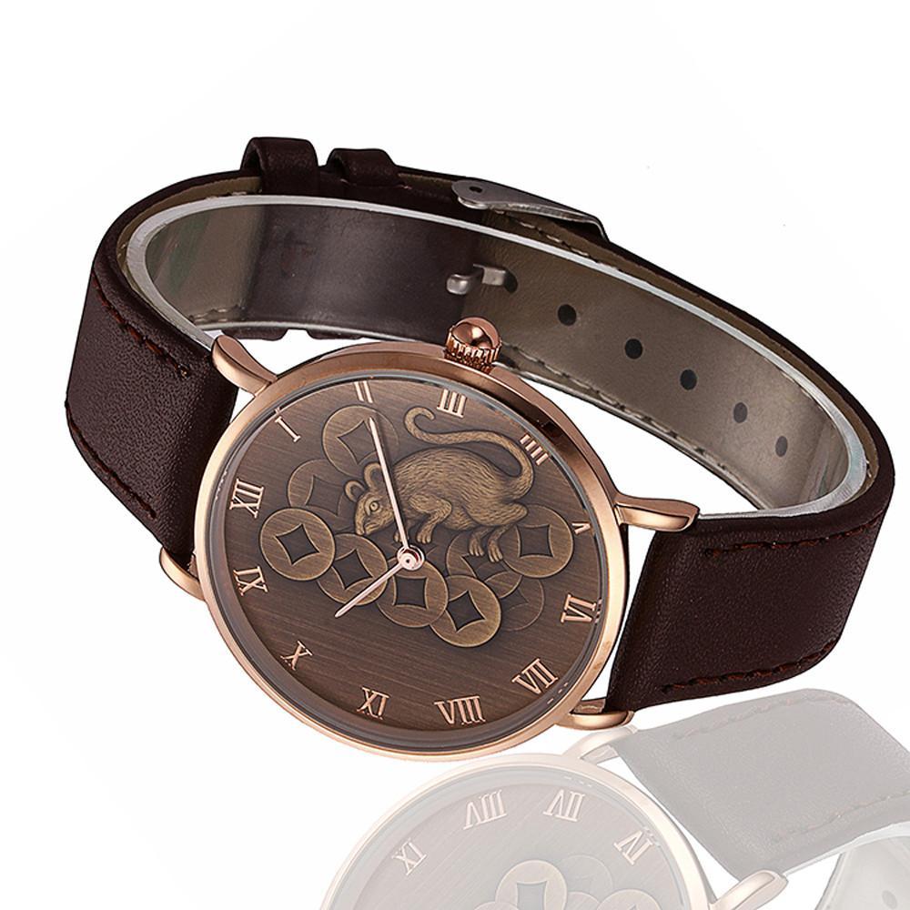 North Fashion Mouse Pattern Men Quartz Wrist Watch Leather Band Watch Malaysia