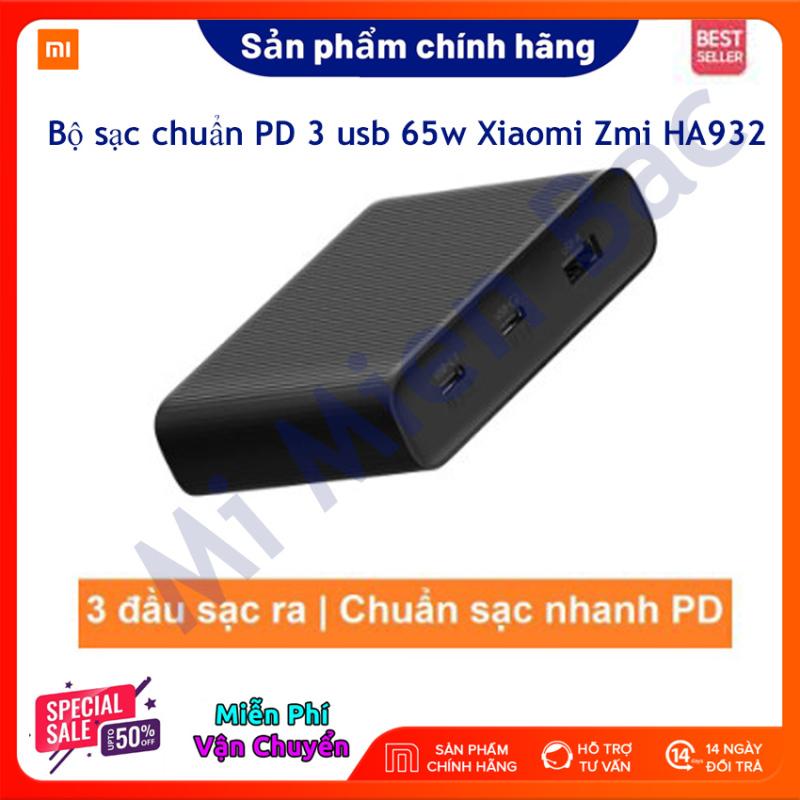 [Hàng Chính Hãng] Bộ Sạc Nhanh Xiaomi Zmi HA932 3 Cổng – Chuẩn PD cho Iphone - Công suất 65W - Hỗ Trợ Sạc Laptop - BH 6 tháng – Mi Miền Bắc