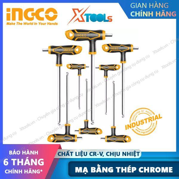 Bộ 8 chìa lục giác bi tay cầm chữ T HHKT8082 (1 đầu bằng, 1 tròn) . Lục giác đa năng Tay cầm mới Cr-V, Chịu nhiệt, mạ bằng thép chrome - 20/T, Size 2X75,2.5X75,3X100,4X100, 5X150,6X150,8X200,10X200 - sản phẩm chính hãng [XTOOLs] [XSAFE]