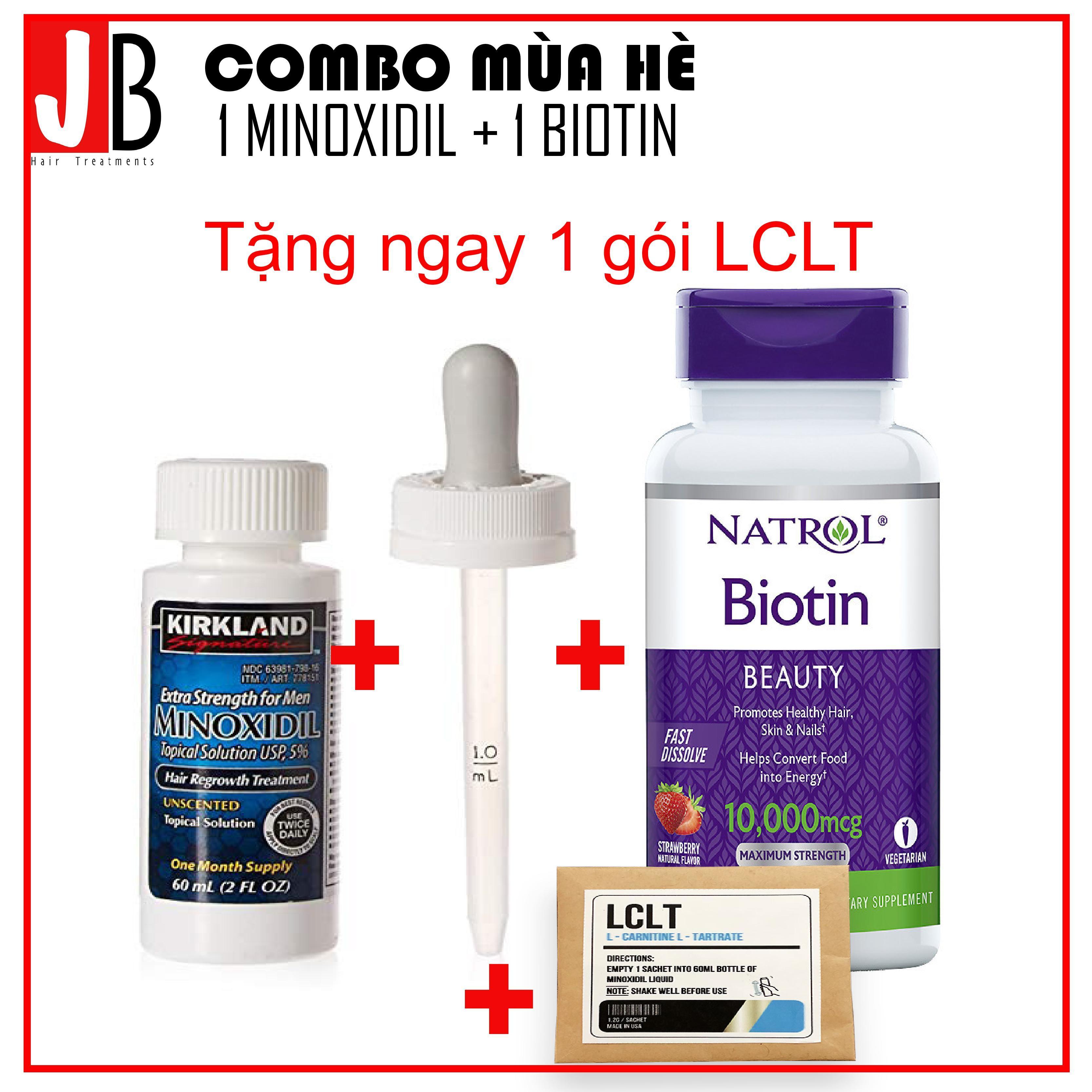 Combo Thuốc mọc tóc Minoxidil + Biotin, tặng kèm LCLT và ống bơm zin giá rẻ