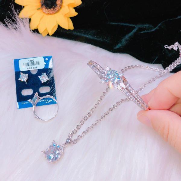 [ GIÁ HỦY DIỆT] Bộ trang sức bạch kim NỮ, bộ trang sức công chúa gắn đá pha lê cao xoắn sáng lung linh lấp lánh thiết kế tinh tế sang trọng Trang sức Gadoshop KB421091909- đeo đi đám cưới vô cùng quý phái