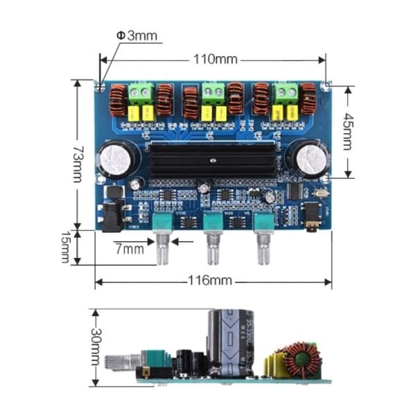 Giá TPA3116 Digital Power Amplifier Board 2.1Channel Stereo Class D Home Speaker Bluetooth 5.0 Audio Receiver Amplifiers