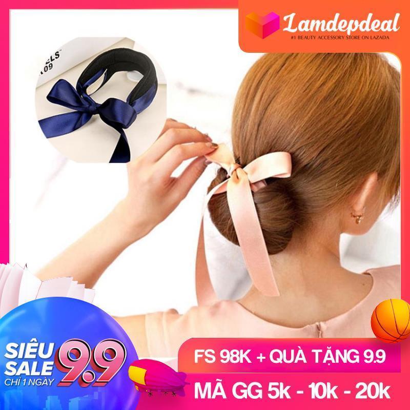 [FS 98K + QUÀ TẶNG 9.9] Dụng cụ búi tóc tròn có nơ nhiều màu sắc - Búi tóc củ tỏi dễ thương, dễ sử dụng, giá rẻ - Lamdepdeal. nhập khẩu