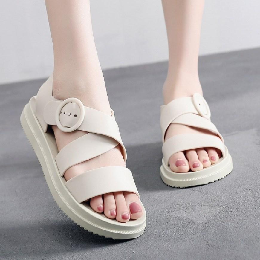 Dép quai ngang nữ sandal hè đi mưa không không thấm nước đế bằng êm ái chống trơn trượt-DG14, dép thời trang, dép đi mưa KRS2111 giá rẻ