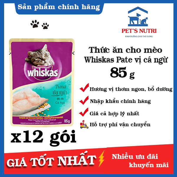[12 gói] Thức ăn cho mèo lớn vị cá ngừ Whiskas Pate Vị cá ngừ (Tuna) 85g