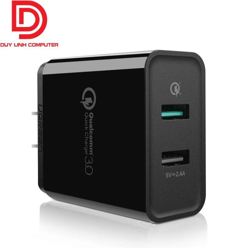 Sạc nhanh Qualcomm Quick Charge 3.0 Chính hãng Ugreen 30912 hỗ trợ 2 cổng