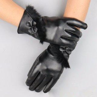 Bao tay da nữ CẢM ỨNG điện thoại thiết kế dải lông siêu xinh (đen) DL01 thumbnail