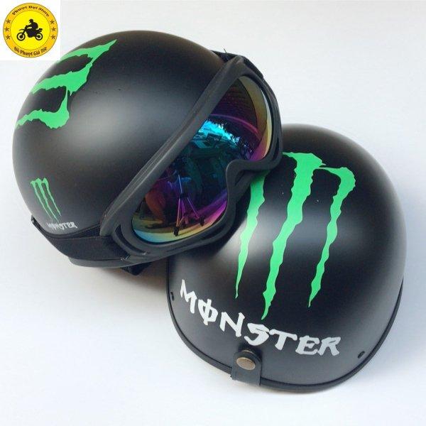 Mũ bảo hiểm nửa đầu tem Monster+ Tặng kính UV 7 Màu