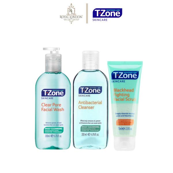 Combo 3 T-zone cho da mụn Gel Rửa Mặt (200ml) + Tẩy Da Chết ngăn mụn đầu đen (75ml) + Toner làm sạch kháng khuẩn (200ml) Tinh Chất Tràm Trà