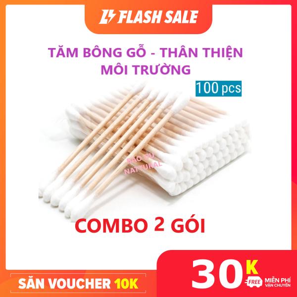 [SALE TẾT] [RẺ HƠN HOÀN TIỀN] Gói 100 Que Tăm bông thân Gỗ kháng khuẩn 100% Cotton cao cấp an toàn thân thiện