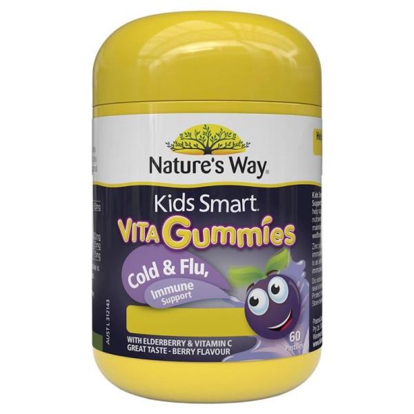 Vitamin Tăng Sức Đề Kháng, Phòng Chống Cảm Cúm cho Bé 60 viên Natures Way Kids Smart Vita Gummies Cold & Flu Immunity, 60 pastilles