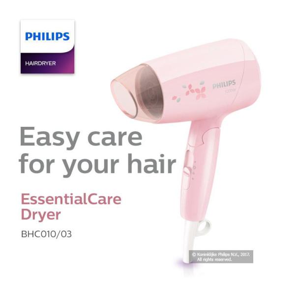 Máy sấy tóc du lịch Philips BHC010 - Hàng chính hãng bảo hành 24 tháng toàn quốc   công nghệ thổi gió đa dạng, giúp tóc mau khô và hỗ trợ thực hiện nhiều kiểu tóc.